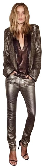 Item - Gold Coated Rosie Huntington Whiteley X Collection Skinny Jeans Size 8 (M, 29, 30)