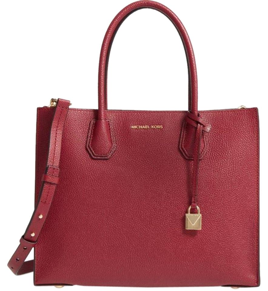 282d75a6d540 Michael Kors Mercer Large Convertible Metallic Mulberry Leather Tote ...