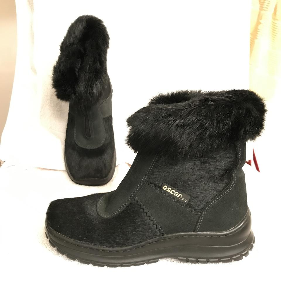 0c61f6f424d34 Oscar de la renta black real fur leather ankle sports bootsbooties size eu  approx us regular