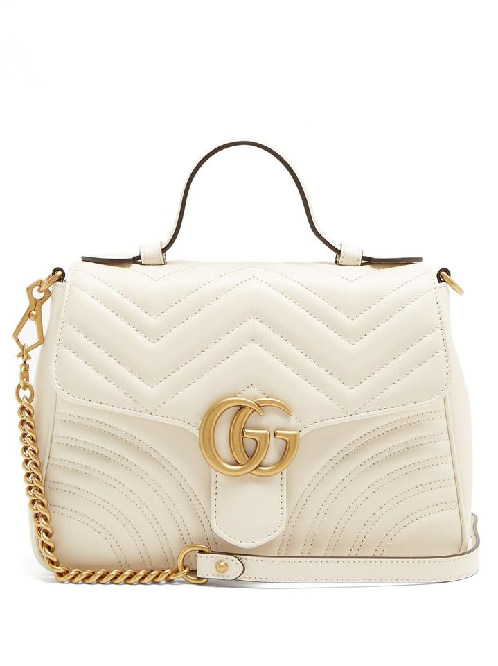 5dbfc7561976 Gucci Marmont New Gg Quilted White Leather Shoulder Bag - Tradesy