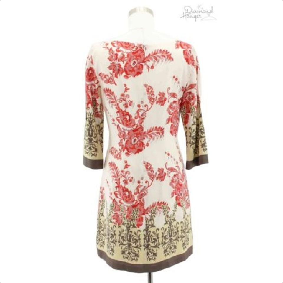 3e728037a77 Neiman Marcus Brown Red A09 Designer Small White Floral Casual Dress. Size   6 ...