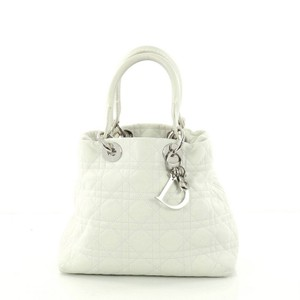 Dior Christian Lady Cannage Tote in White