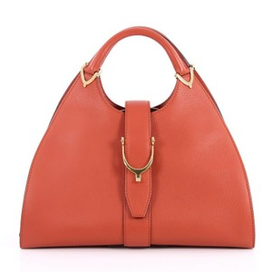 Gucci Top Handle Leather Satchel in Orange