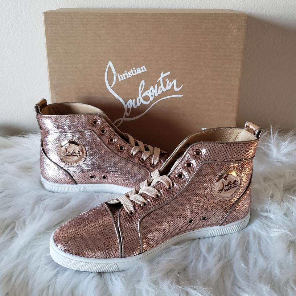 5fdf8f99f409 Christian Louboutin Pink Bip Bip High Top Sequins Sneakers Size US 8 ...
