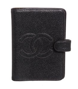 Chanel Chanel Black Caviar Leather Small Ring Agenda Cover