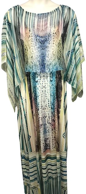 Item - Green/Beige XL Top Overlay Printed Stretchy Long Casual Maxi Dress Size 16 (XL, Plus 0x)