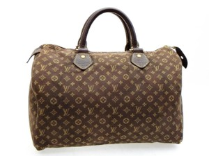 Louis Vuitton Speedie Boston Damier Ebene Denim Monogram Satchel in Brown