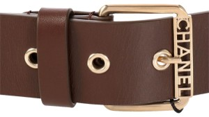Chanel Brown Cross Stitched Grommet Leather Belt