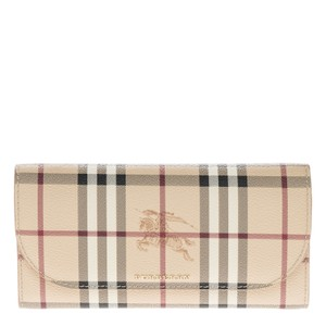 Burberry Burberry Women's Leather Trim Haymarket Check Wallet With Chain Camel
