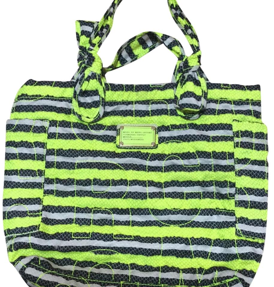 56e944f172f2 Marc by Marc Jacobs Workwear Lime Green Black Gray Cloth Satchel ...
