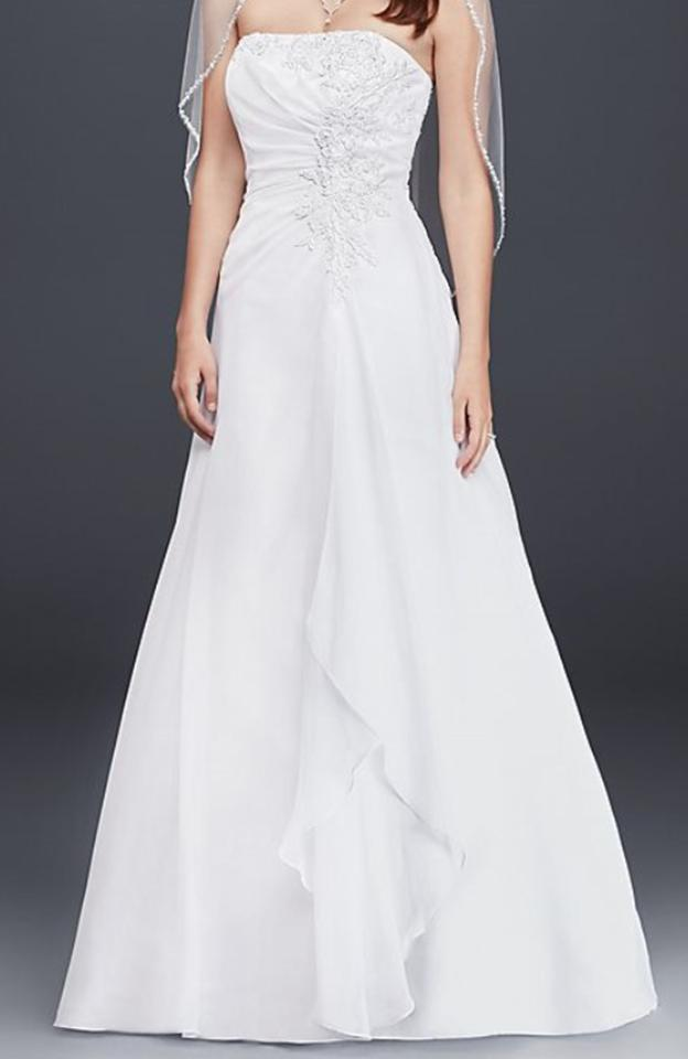 Davids Bridal White Chiffon A Line With Draping V9409 Traditional