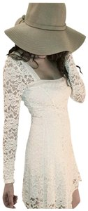 Free People short dress Ivory Longsleeve Lace A-line Cut-out on Tradesy