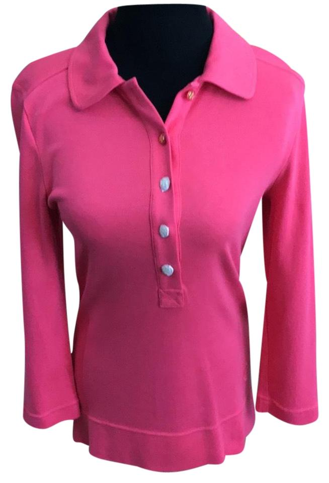1a37fb7712ff Tory Burch Bougainville Pink New with Tag 3 4 Sleeve Polo Button-down Top