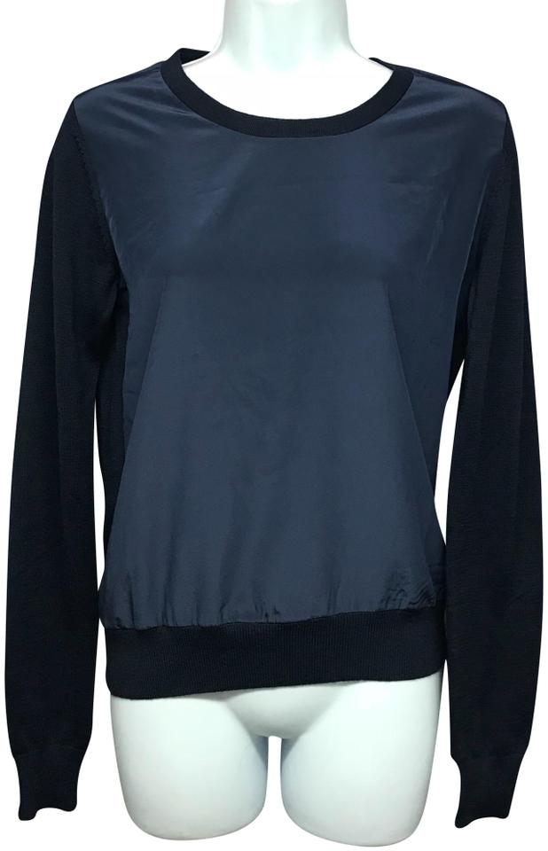 4550b9b660c49d Uniqlo Navy Satin Poly Front Knit Wool Sweater S Blouse Size 6 (S ...