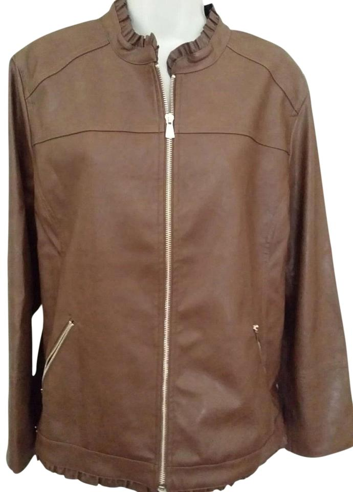 975a11383c81f Chico s Macchiato Ruffle Trim Faux Leather Jacket Size 16 (XL