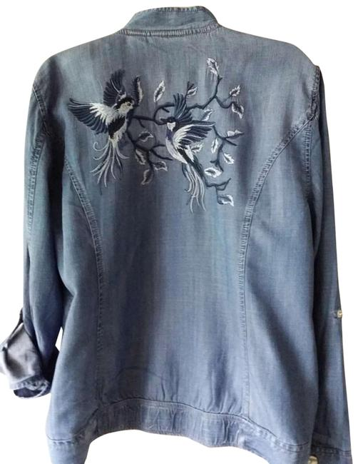 Item - Blue Embroidered Bomber Jacket Size 16 (XL, Plus 0x)