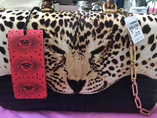 Gucci Haircalf Bamboo Gg Chain Satchel in Leopard/Black