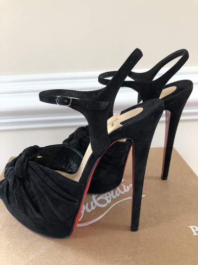 Christian Louboutin Stiletto Platform Ionescadiva Ankle Strap Suede Black Sandals