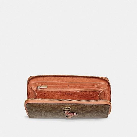 Coach ACCORDION ZIP WALLET IN SIGNATURE CANVAS WITH FLAMINGO MOTIF