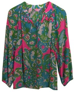 Lilly Pulitzer Top green, blue and pink pattern