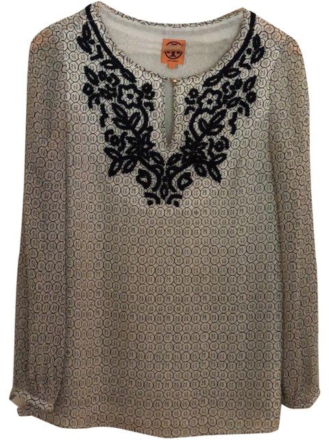 Preload https://img-static.tradesy.com/item/23476199/tory-burch-navy-and-white-embroidered-embellished-silk-tunic-blouse-size-6-s-0-1-650-650.jpg