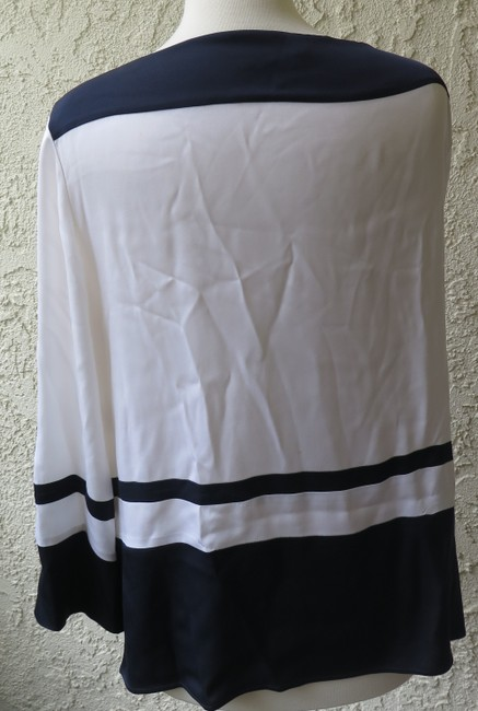 Emilio Pucci Nautical Highlow Striped Top white navy