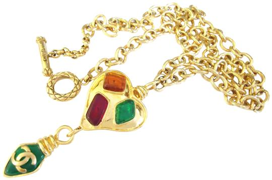 Chanel Chanel multi-color-poured-glass dangling pendant chain-necklace