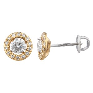 JMD LUX 18K Gold .82 Ct Diamond Stud Earrings with Earring Jackets, H-I, SI