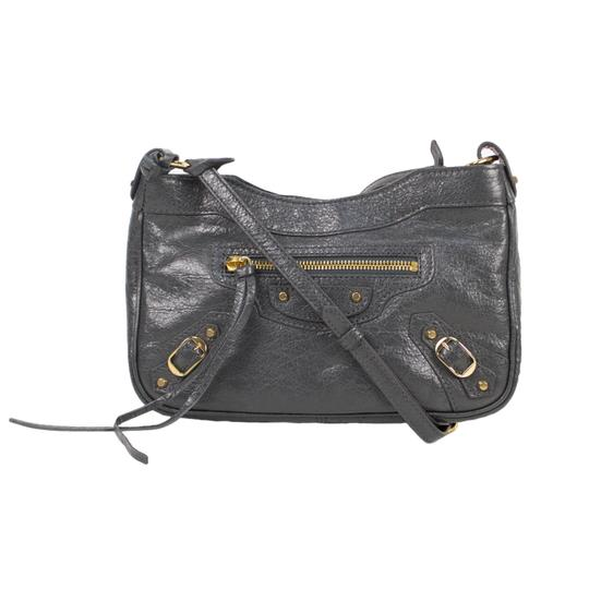 Balenciaga Leather Gold Hardware Satchel in Gray