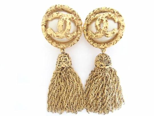 Chanel Vintage CHANEL CC Logos pearl Dangle Swing large size Clips Earrings