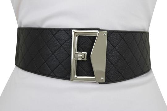 Preload https://item4.tradesy.com/images/black-women-faux-leather-fabric-silver-metal-square-buckle-s-m-belt-23476293-0-1.jpg?width=440&height=440