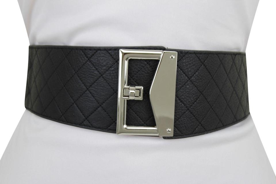 455f644f0e3 Black Women Faux Leather Fabric Silver Metal Square Buckle S M Belt 25% off  retail
