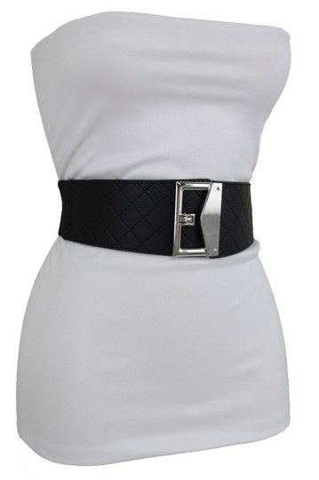 Alwaystyle4you Women Black Faux Leather Fabric Belt Silver Metal Square Buckle S M