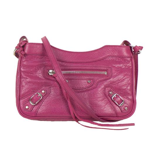Balenciaga Leather Silver Hardware Satchel in Pink