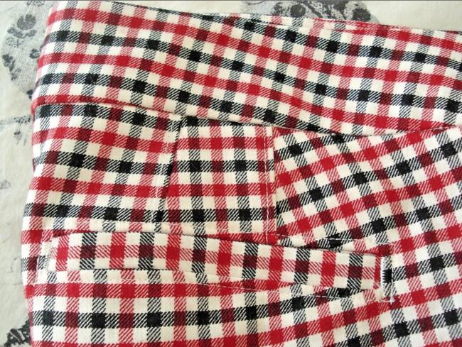 Talbots Gingham Checkered Hampshire Wool Trouser Pants Red