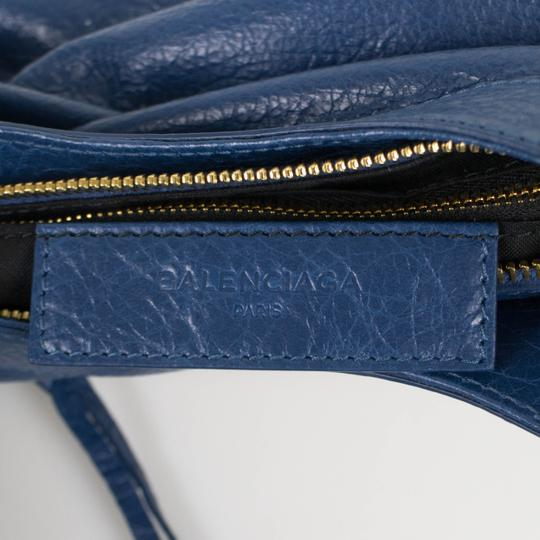 Balenciaga Leather Gold Hardware Satchel in Blue