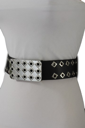 Alwaystyle4you Hot Women Black Faux Leather Belt Silver Metal Square Plate Buckle S