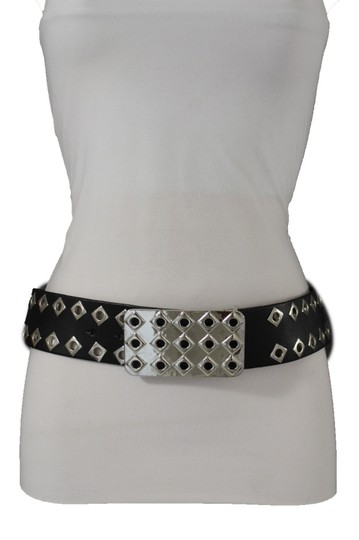 Alwaystyle4you Hot Women Black Faux Leather Belt Silver Metal Square Plate Buckle M