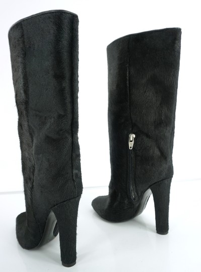 Alexander Wang Pony Hair Wide High Heel Classic Party Black Boots