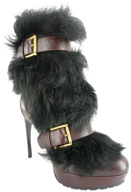 Item - Red Burgundy Leather Black Mink Fur Double Belted Ankle Boots/Booties Size EU 36.5 (Approx. US 6.5) Regular (M, B)