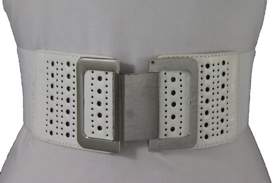 Alwaystyle4you Women Belt Hip Waist Silver Metal Square Buckle White Elastic Band