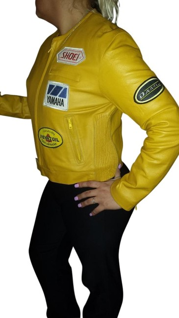 Preload https://item3.tradesy.com/images/mustard-yellow-leather-motorcycle-jacket-size-12-l-2347642-0-1.jpg?width=400&height=650