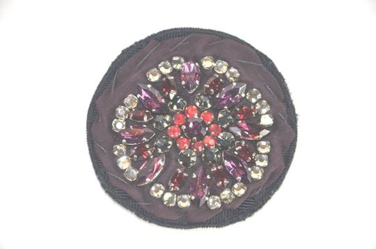 Prada Prada Multicolor Crystal and Fabric Brooch, Pin.