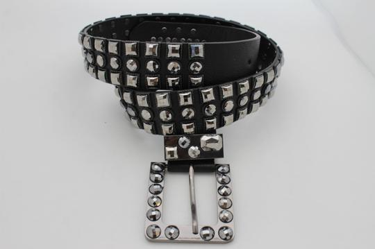 Alwaystyle4you Women Belt Black Faux Leather Square Buckle Pewter Bling Beads M