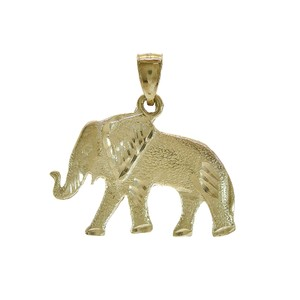 Avital & Co Jewelry Diamond Cut Elephant Pendant 14K Yellow Gold