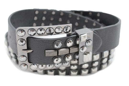 Alwaystyle4you Women Belt Black Faux Leather Square Buckle Pewter Bling Beads L