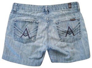 7 For All Mankind 7fam Crop A Pocket Jeans Cut Off Shorts blue