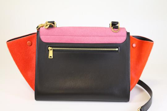 Céline Small Trapeze Pony Hair Trapeze Trapeze Tricolor Satchel in Pink/Red/Black