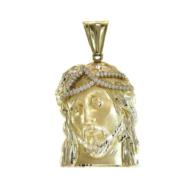 Item - Yellow Gold 14k Cubic Zirconia Jesus Head Pendant