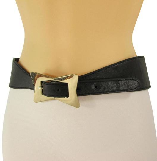 Preload https://item1.tradesy.com/images/black-women-faux-leather-western-gold-bow-square-buckle-s-m-belt-23476605-0-1.jpg?width=440&height=440